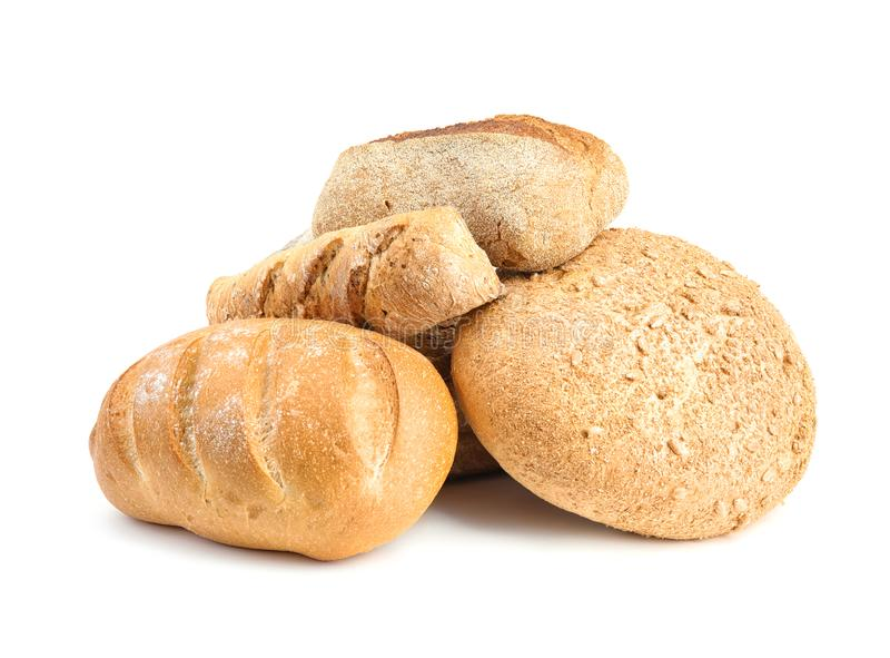 Loaves of different breads on white stock image