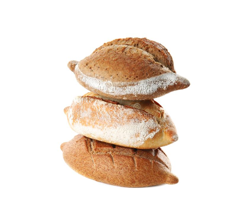 Loaves of fresh bread isolated stock image