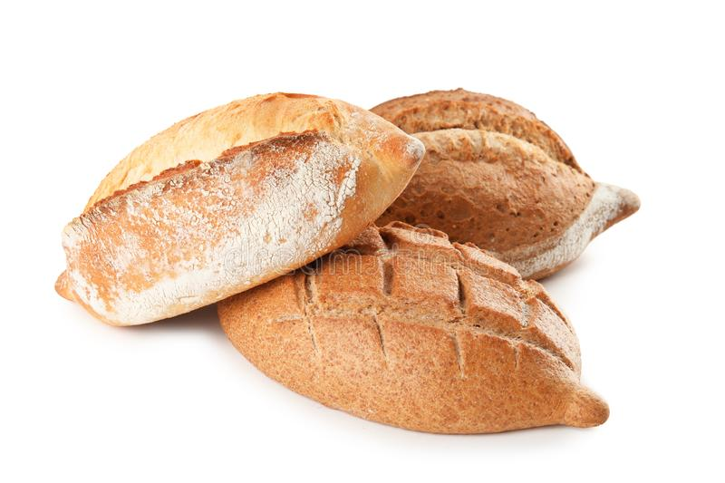 Loaves of fresh bread isolated stock photos