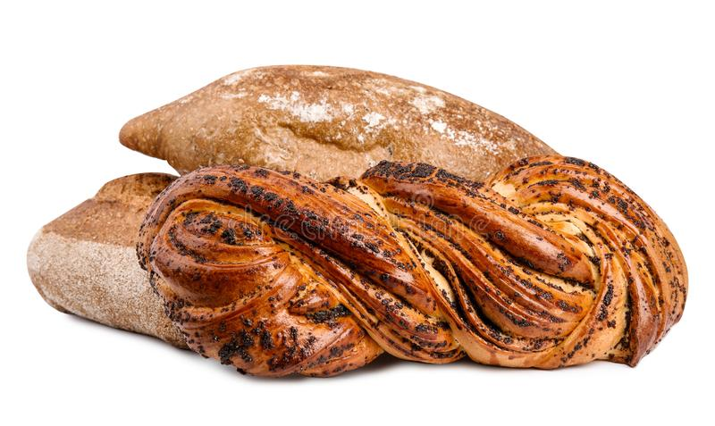 Loaves of fresh bread and pastry on white. Background stock photography