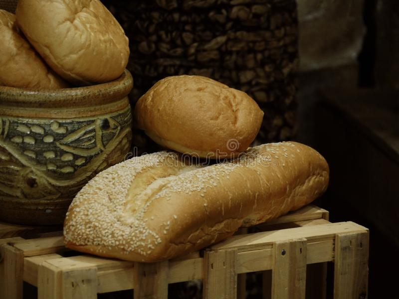 Loaves of freshly baked bread stock images