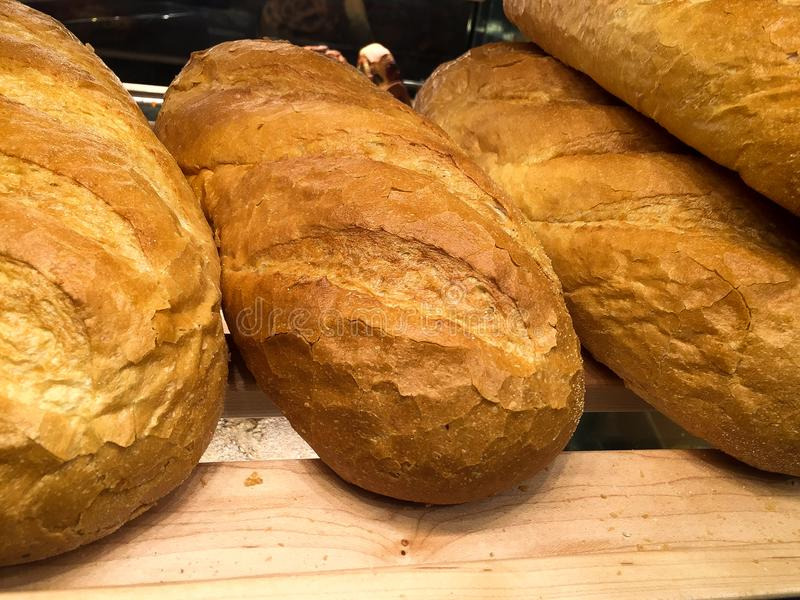 Loaves of Italian bread stock images