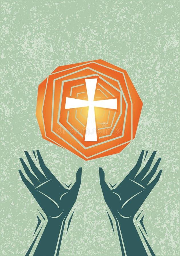 Lob-Hände und Kreuz stock abbildung