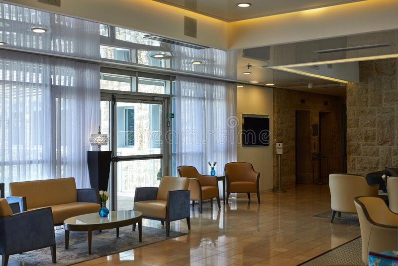 Lobby av Yehuda Hotel i Jerusalem arkivbilder