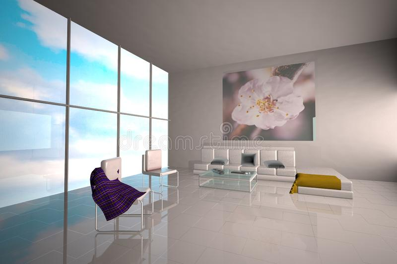 Lobby with big window and sofa royalty free stock image