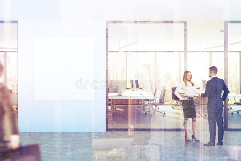 Lobby bleu de bureau de mur, affiche carrée, ville modifiée la tonalité illustration stock