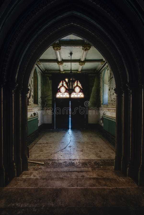 Lobby with Cracked Green Paint - Abandoned Church - New York royalty free stock photography