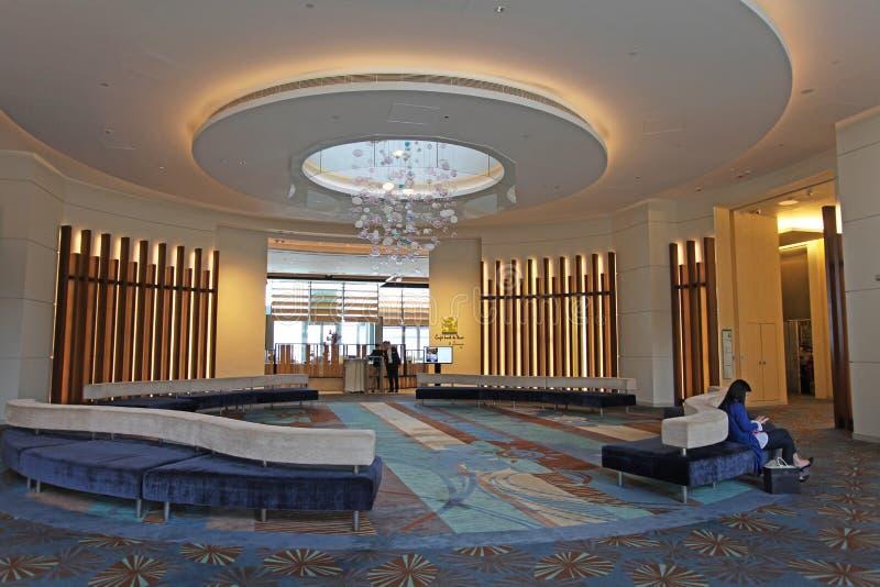 Lobby d'hôtel d'Auberge, baie de découverte, île de Lantau, Hong Kong photos stock