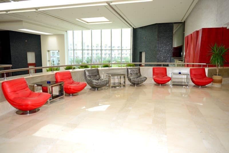 Lobby decoration in luxury hotel stock image