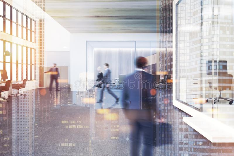 Lobby en bois de bureau de plafond modifié la tonalité illustration de vecteur
