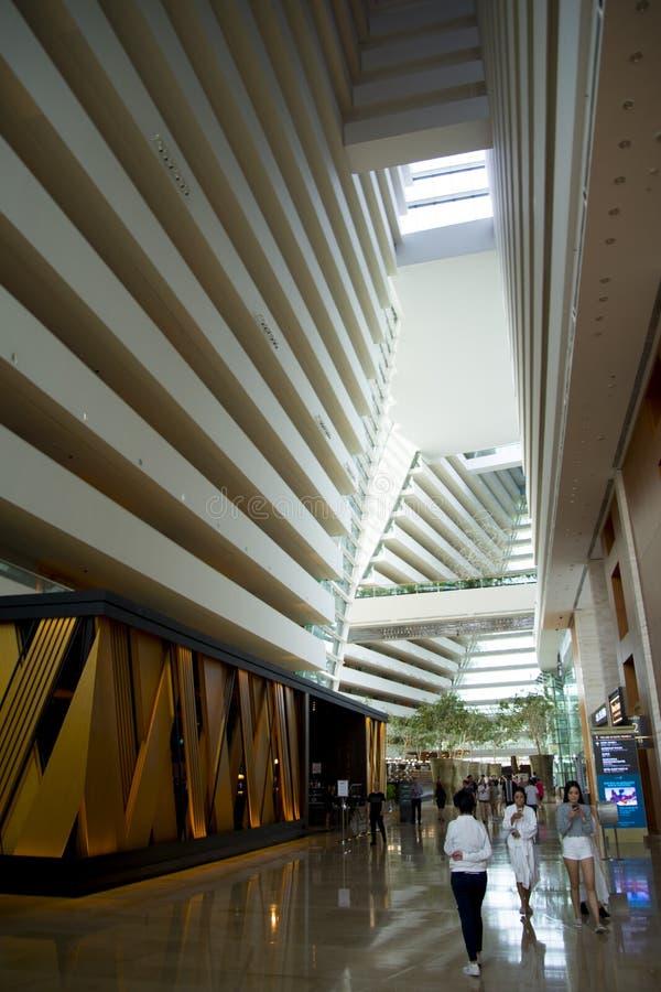 Lobby intérieur de l'hôtel luxueux de Marina Bay Sands images stock