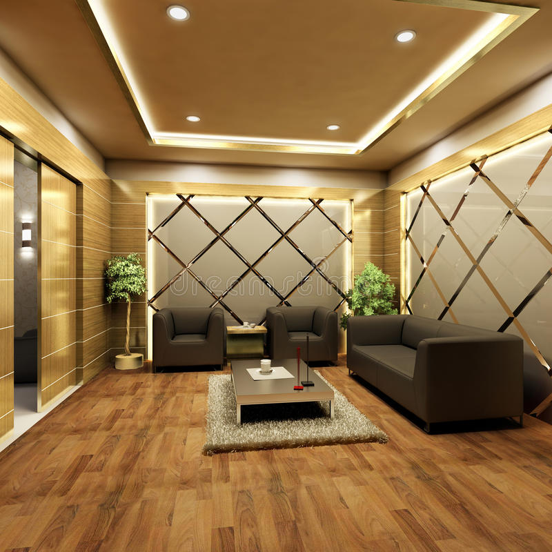Lobby interior design stock illustration. Illustration of leather ...