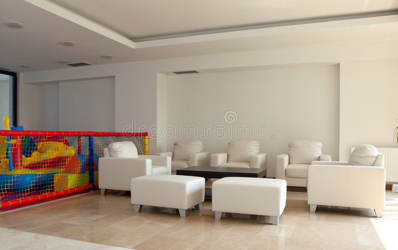 Lobby of a modern building stock photography