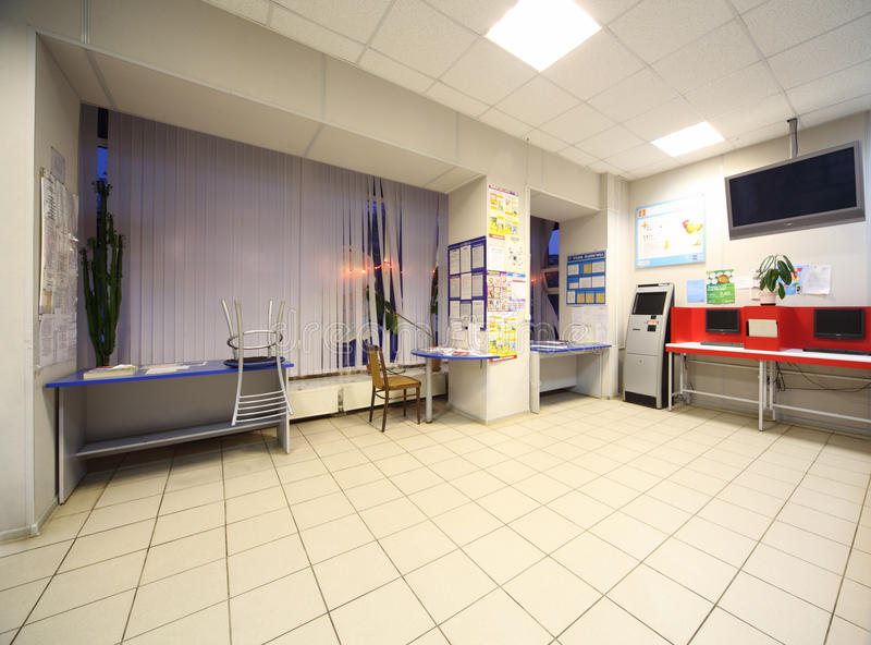 Lobby of post office stock photography