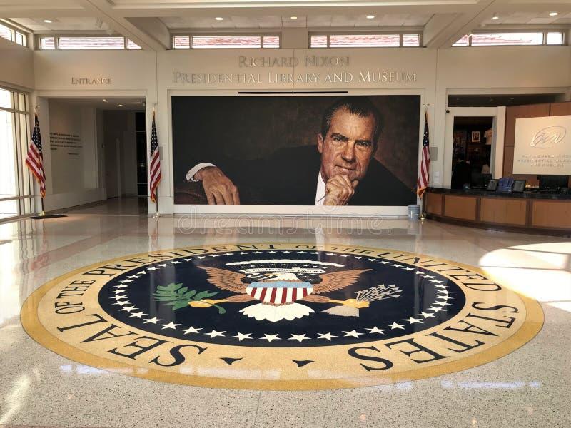 Lobby, Richard Nixon Presidential Library and Museum in Yorba Linda, California. A portrait of Richard Nixon is seen in the lobby of Nixon`s presidential stock photo