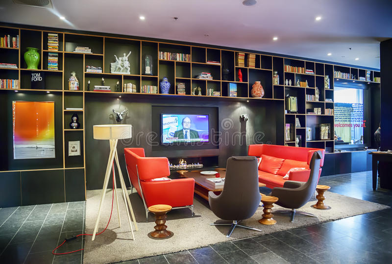 Lobby Space In Design - Hotel Editorial Photo - Image of cozy ...