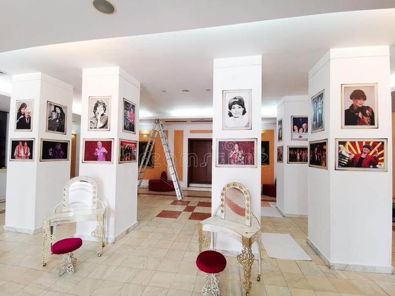 Lobby at the Theater of the Magazine Constantin Tanase. Paintings with actors and artists who played and performed at the Theater of the Magazine Constantin royalty free stock photos