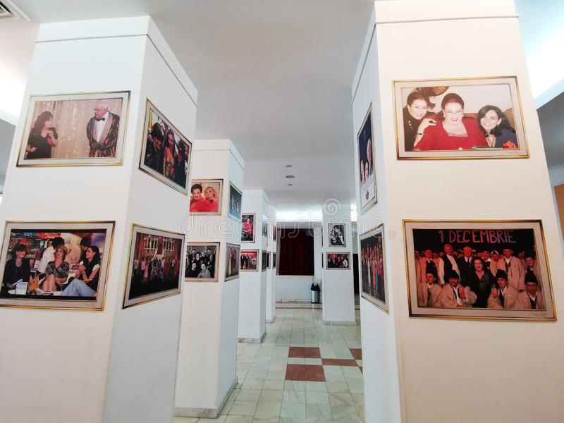 Lobby at the Theater of the Magazine Constantin Tanase. Paintings with actors and artists who played and performed at the Theater of the Magazine Constantin royalty free stock image