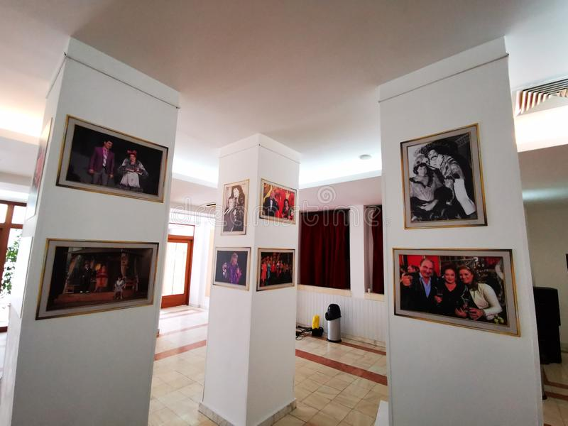 Lobby at the Theater of the Magazine Constantin Tanase. Paintings with actors and artists who played and performed at the Theater of the Magazine Constantin royalty free stock photo