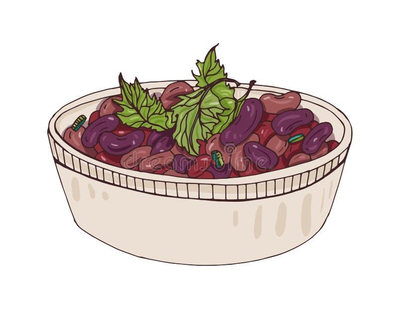 Lobio dans la cuvette décorée du cilantro Repas géorgien végétarien délicieux fait de haricots cuits Plat savoureux de veggie de illustration de vecteur