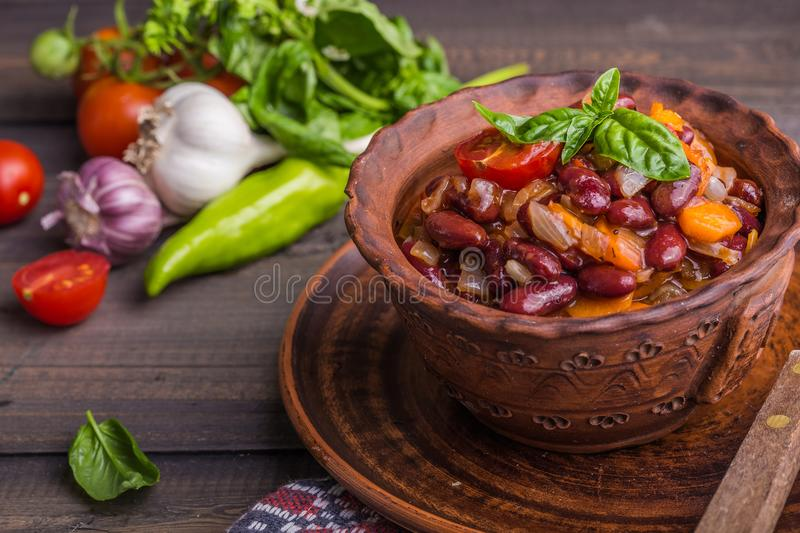 Lobio Georgian dish with red beans, spices and herbs.Lobio Georgian dish with red beans, spices and herbs. stock photo