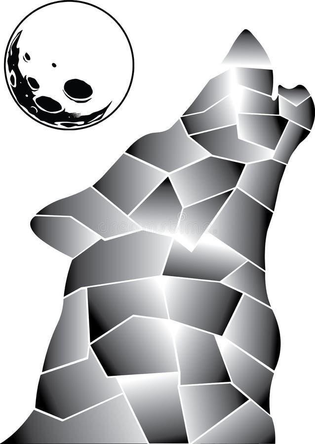 Lobo cinzento no meio da Lua cheia ilustração do vetor