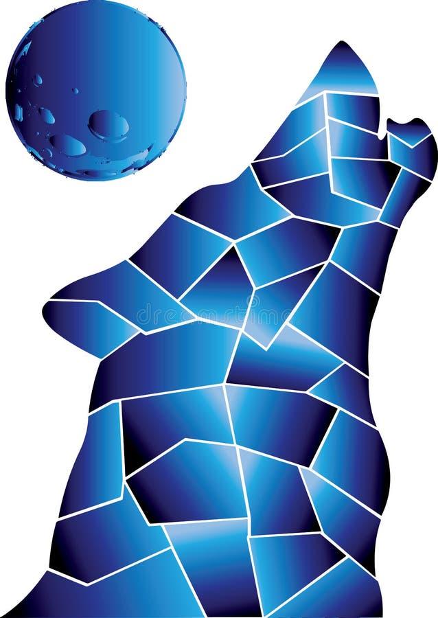 Lobo, colores azules Luna Llena stock de ilustración