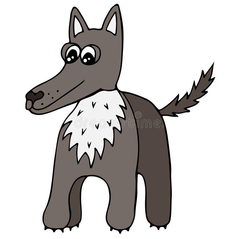 Lobo colorido lindo aislado en el fondo blanco libre illustration