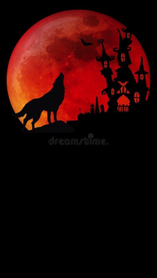 Lobo da lua do sangue de Dia das Bruxas foto de stock