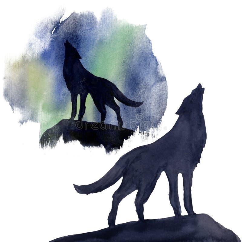 Lobo da silhueta no fundo da aquarela da aurora boreal jogo ilustração royalty free