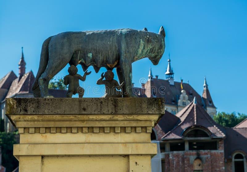 Lobo de Capitoline en Sighisoara imagenes de archivo