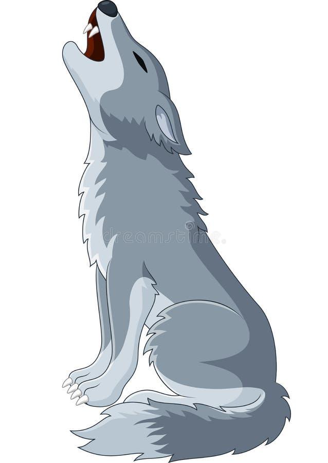 Lobo de la historieta que grita ilustración del vector