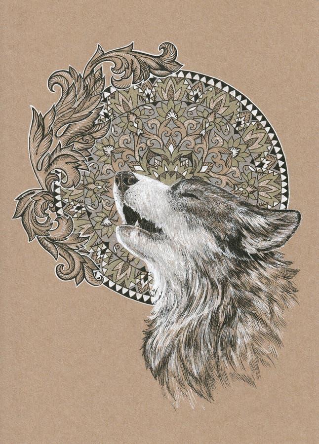 Lobo del grito, perro en el fondo de la mandala ilustración del vector