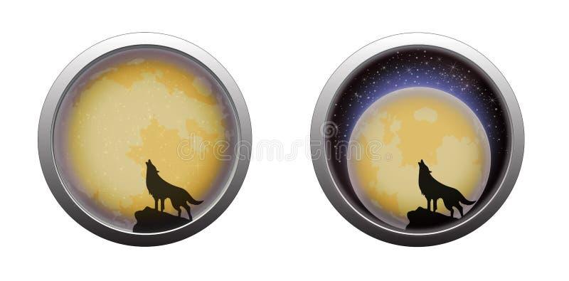 Lobo do urro na cena da Lua cheia ilustração stock