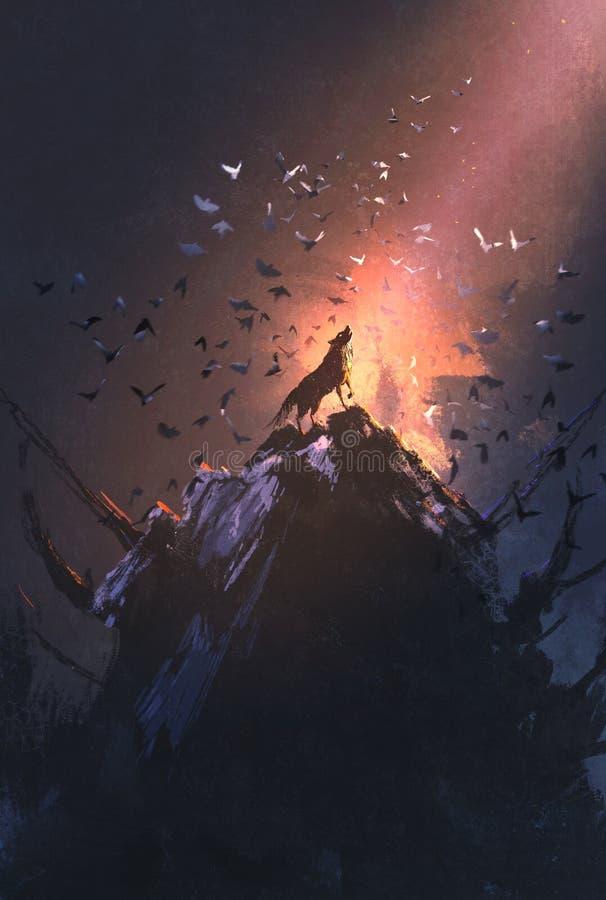 Lobo do urro na rocha com voo do pássaro ao redor