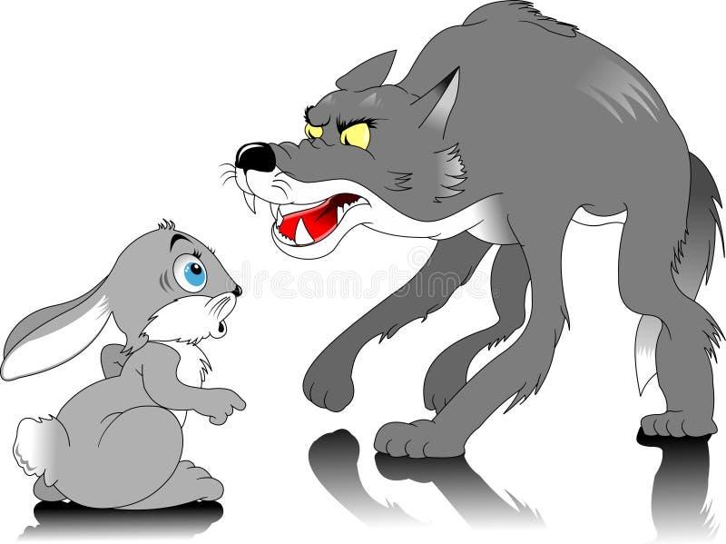 Lobo e coelho ilustração stock