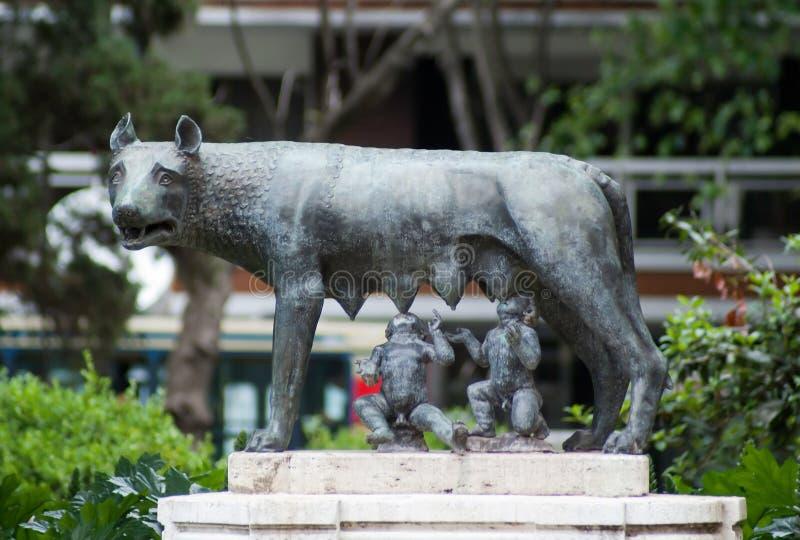 Lobo e gêmeos de Capitoline foto de stock