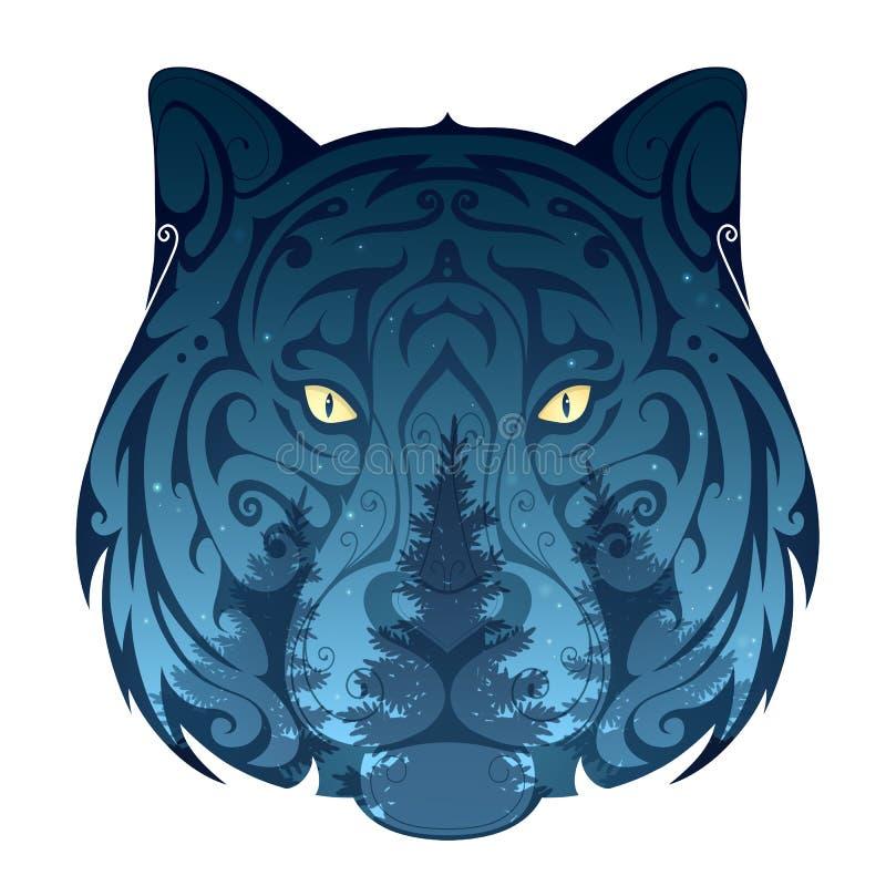 Lobo e a ilustração do conceito da floresta ilustração stock