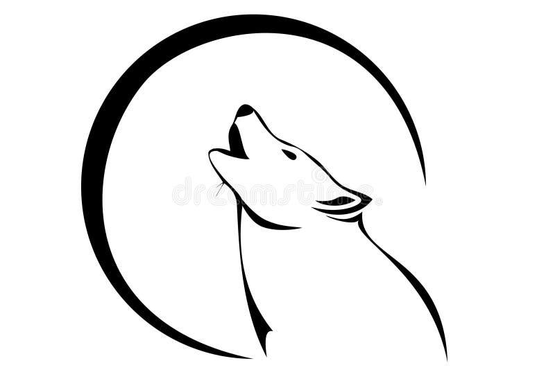 Lobo e lua ilustração royalty free