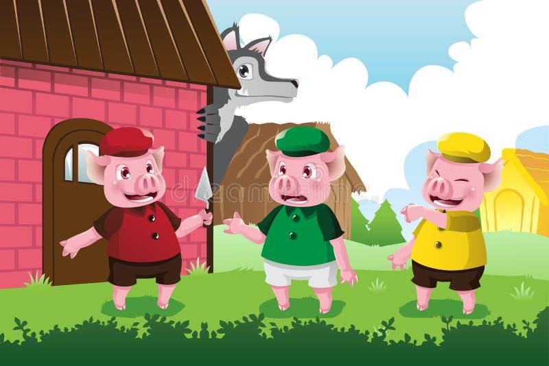 Lobo e três porcos pequenos ilustração do vetor