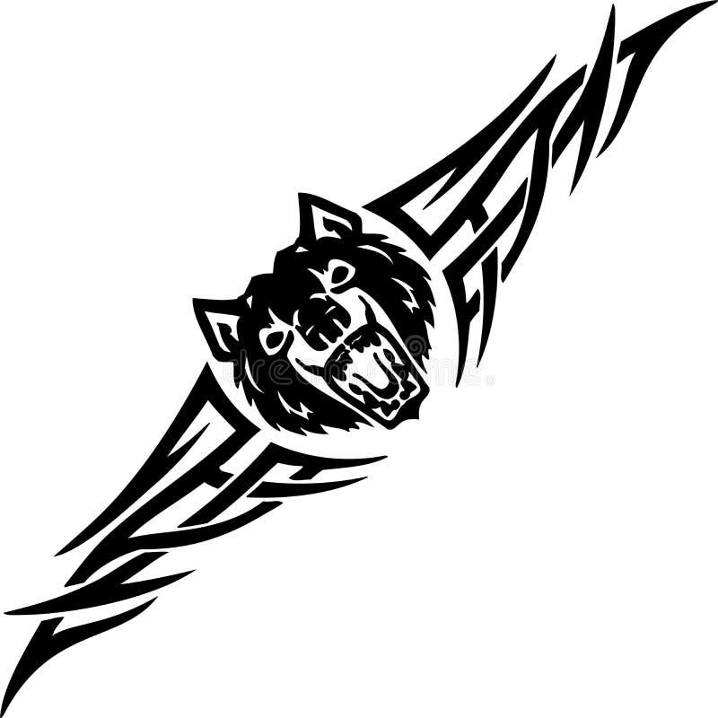 Lobo e tribals simétricos - ilustração do vetor. ilustração do vetor