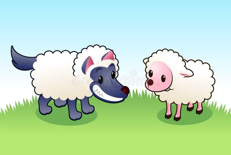 Lobo en ropa de las ovejas stock de ilustración