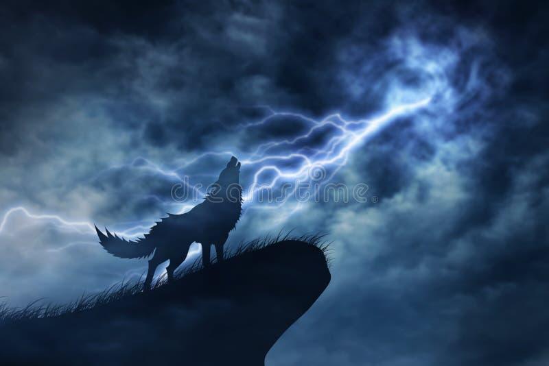 Lobo en silueta a la tempestad de truenos fotos de archivo libres de regalías