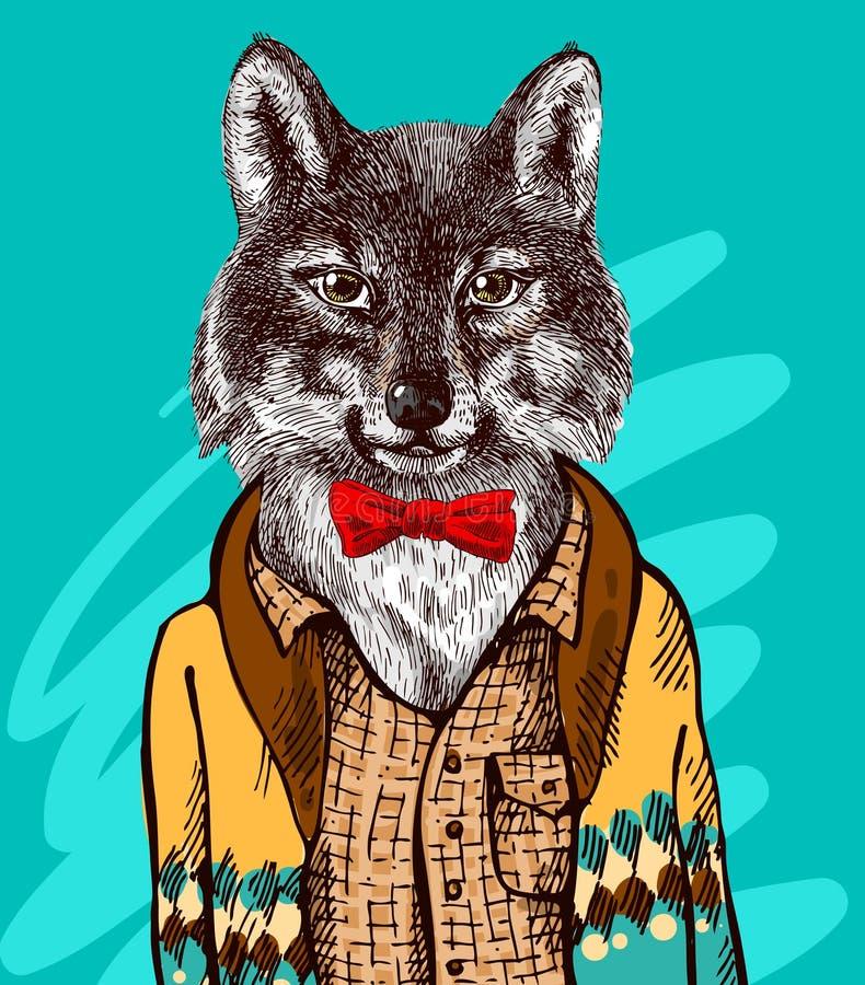 Lobo en suéter hecho punto libre illustration