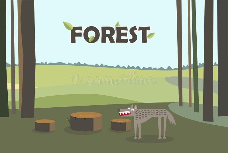 Lobo en tocones del árbol forestal Vector de la historieta con el fondo del bosque ilustración del vector