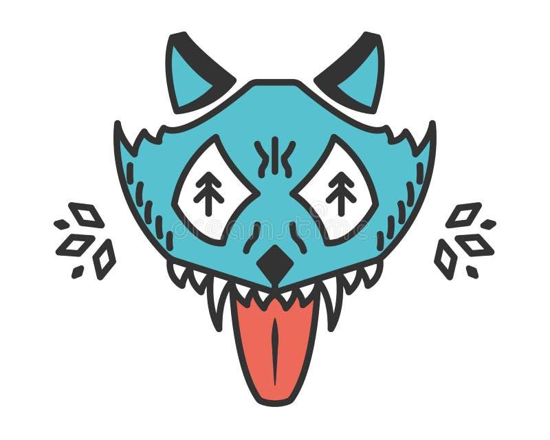 Lobo enojado Animal de la historieta aislado en blanco imágenes de archivo libres de regalías