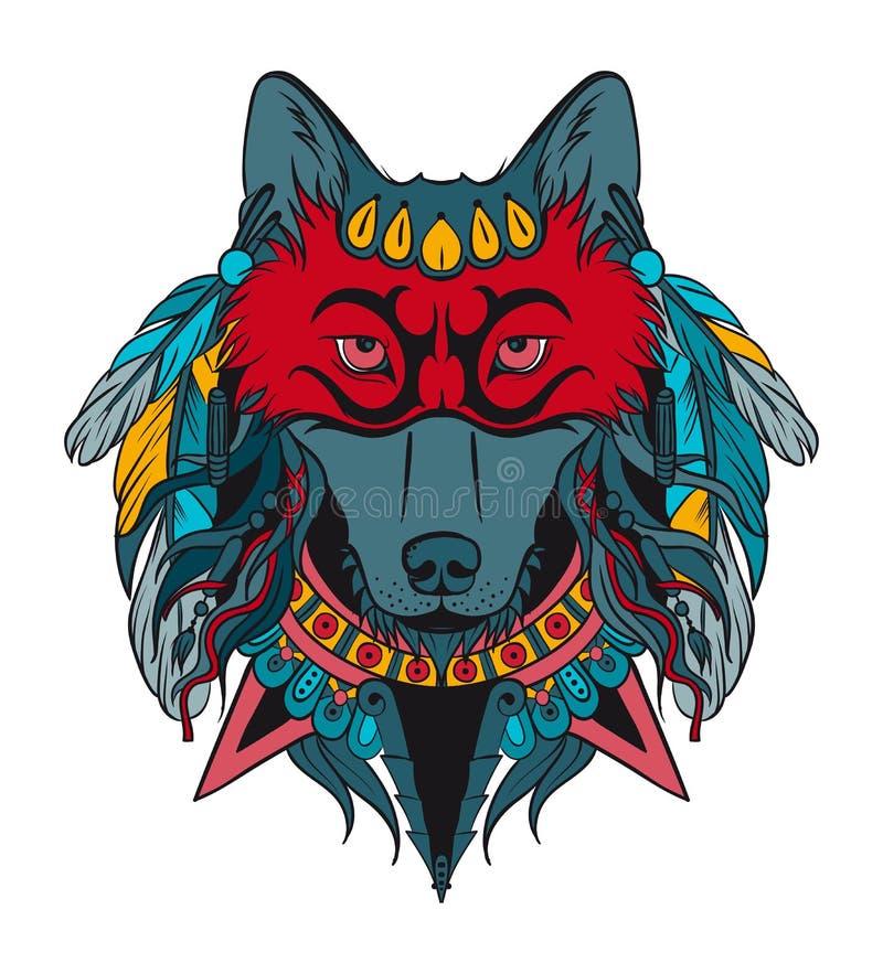 Lobo indio del guerrero ilustración del vector