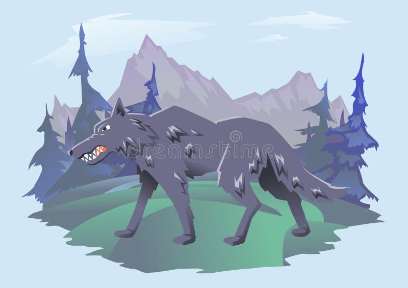 Lobo irritado que anda na paisagem da montanha Ilustração lisa horizontal do vetor no fundo ciano ilustração do vetor