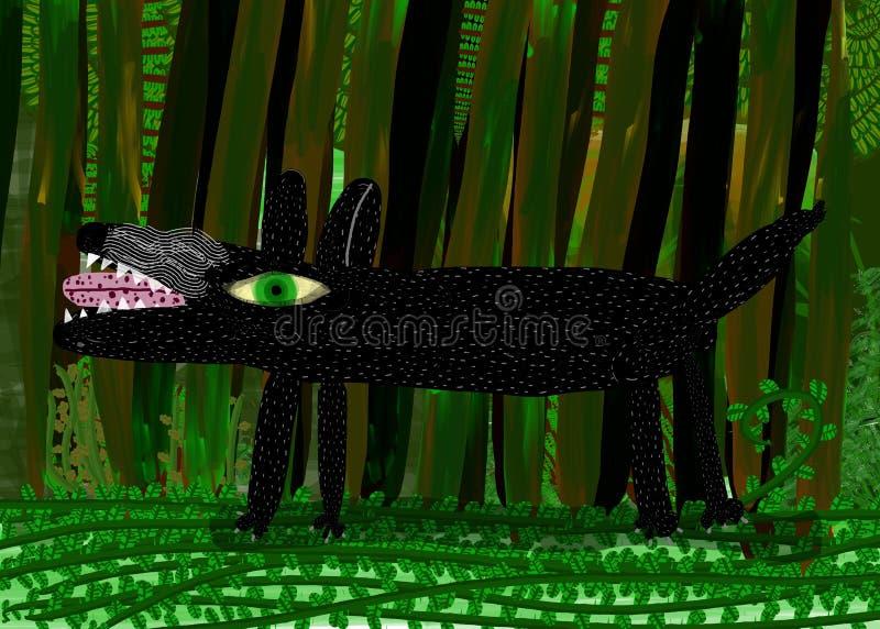 Lobo na floresta ilustração royalty free