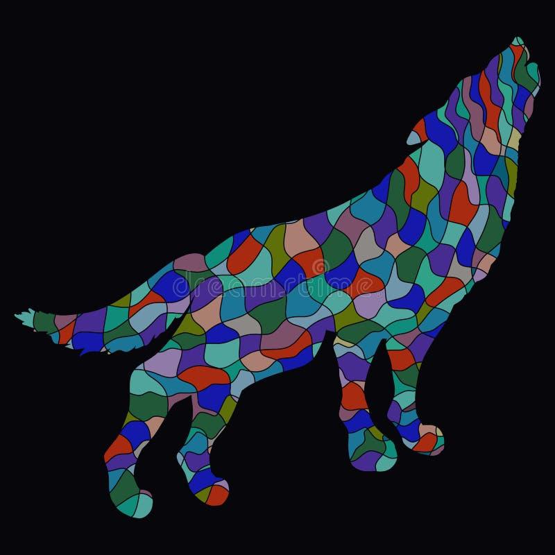 Lobo ou cão, voz, teste padrão colorido criativo e backgrou preto ilustração stock